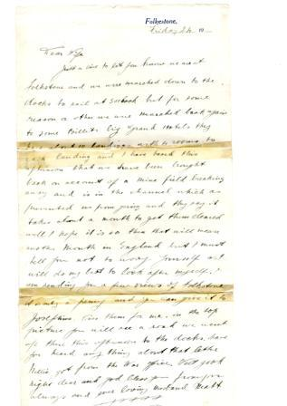 Letter sent by Matthew Denham to his wife