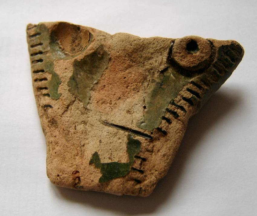 Medieval pottery with green glaze