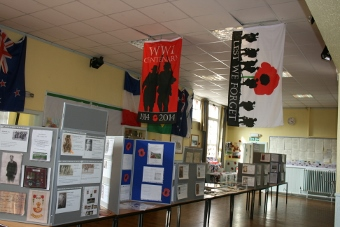 Flags from St. Clare's Church WW1 exhibition by Vic Hargreaves