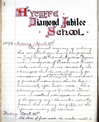 Log book entry of first day of the Diamond Jubilee School