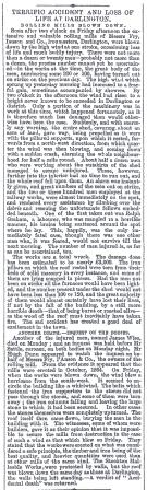 Newspaper account of Ralph Graham's death at Darlington