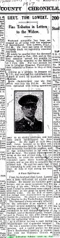 Thomas Lowery 2nd Lieutenant WW1