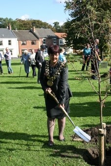 Wendy Hillary tree planting commemorating WW1