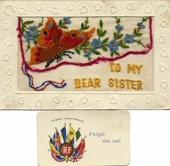 Christmas card silk WW1