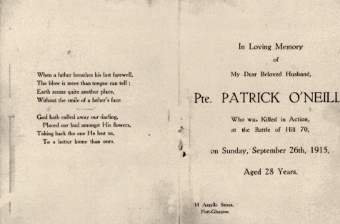 Patrick O'Neill Remembrance card