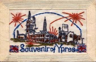 Ypres silk postcard WW1
