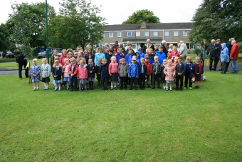 Pupils assemble for group photograph